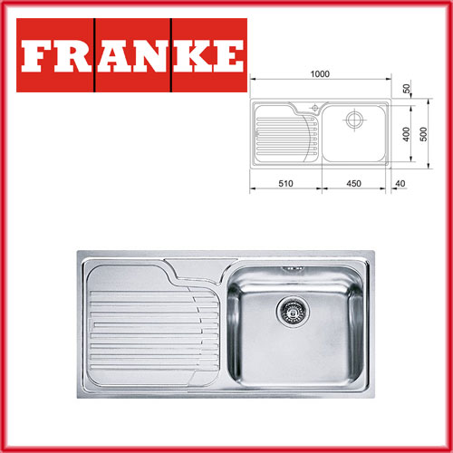 FRANKE GALASIA GAX 611 - Мивка от серията Galassia за шкаф с размер 600 мм. Размери 1000 х 500 мм. Дълбочина на коритото 210 мм. - цена - 280,00 до 31.08.2018